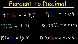 This math video tutorial explains how to convert a percent into a decimal without the use of a calculator.  This video contains plenty of examples and practice problems.  Pre-Algebra Video Playlist:https://www.youtube.com/watch?v=WJqw-cxvKgo&list=PL0o_zxa4K1BVoTlaXWFcFZ7fU3RvmFMMGAlgebra Online Course:https://www.udemy.com/algebracourse7245/learn/v4/overviewAccess to Premium Videos:https://www.patreon.com/MathScienceTutor
