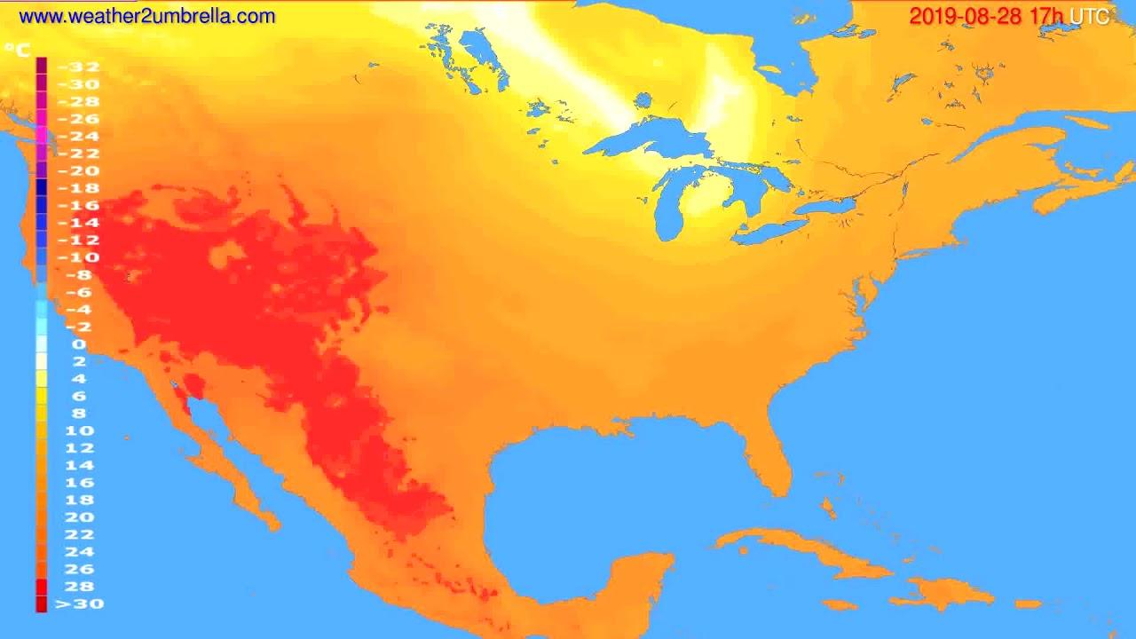 Temperature forecast USA & Canada // modelrun: 00h UTC 2019-08-27