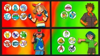 May, Brock and Max's Pokemon (Including Ash Ketchum)