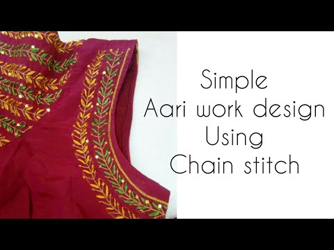 Aari Maggam Embroidery Work Using Only Chain Stitch