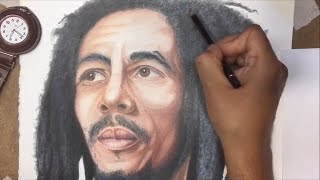 Full color rendition of Bob Marley in color pencils Speed drawing time lapse video showing how to draw his dreadlocks, beard, and skin tones from sketch to f...