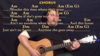 Ain't No Sunshine (Bill Withers) Strum Guitar Cover Lesson with Chords/Lyrics