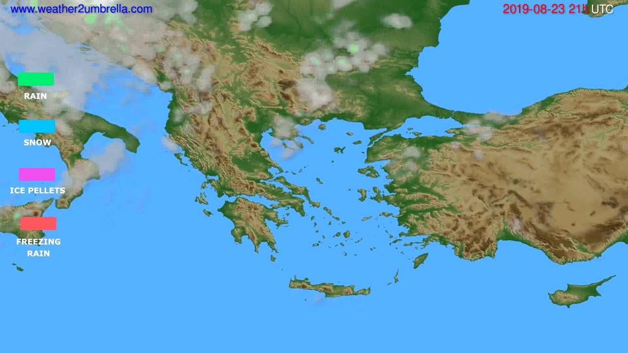 Precipitation forecast Greece // modelrun: 00h UTC 2019-08-22