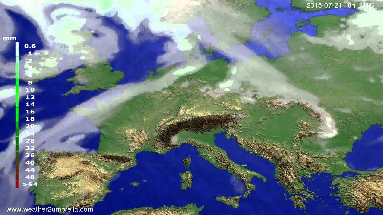 Precipitation forecast Europe 2015-07-17