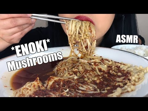 ** ASMR SPICY ENOKI MUSHROOM PLATTER ** Eating Sounds ( VEGAN ) | No Talking | ASMR Phan