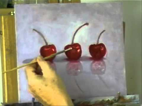 painting cherries - A modern still life painting in acrylics, 'Three Cherries'. All content including music (c)2011 Nikki Rosetti. I own all rights to all content in this video....