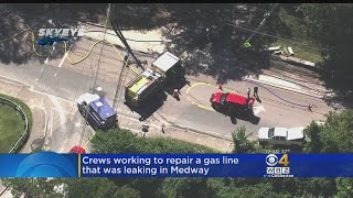 Medway Police said it happened when a construction crew hit and damaged a major gas main at Main and Pond Streets.