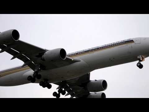 Singapore Airlines Airbus A340-500 [9V-SGD] Landing At LAX