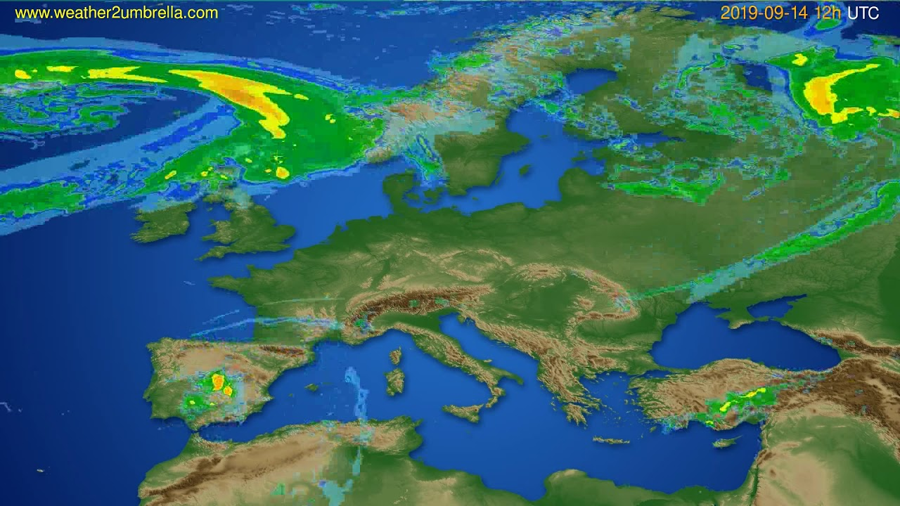 Radar forecast Europe // modelrun: 00h UTC 2019-09-14