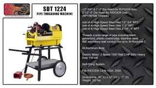 "The SDT 1224 Pipe Threading Machine is used for Threading, Cutting, and Reaming various sizes of Water, Electric, and Gas Pipes ranging from 1/2""-4"" Inches NPT and NPSM Threads. The 1224 threads a wide range of pipe including black, galvanized and plastic-coated pipe, together with stainless steel, IMC and heavy-wall conduit, as well as rod up to 30 Rockwell C. The SDT 1224 is a low cost alternative to the RIDGID ® 1224 and does exactly the same range of work so don't spend over $7400 for a machine that produces the same finished product.• The Automatic Geared Self Oiling System allows the user to Automatically oil dies and make them last longer.• 1/4""-2"" Universal Die Head; 2 1/2""-4"" receding die head allows cutting of tapered or straight NPT and NPSM Threads• 711 and 714 Die Heads work with RIDGID ® Dies (RIDGID ® 26192) (RIDGID ® 47765) (RIDGID ® 47770)• The 1500 Watt 2 HP induction motor has extra Torque for large pipe and quiet operation for any Indoor setting• Foot Pedal allows the operator to easily control the RPM's and Safely Operate Machine• High Torque Induction motor with a three speed transmission goes in Forward and Reverse for easy clean up of the threads and removal of pipe"