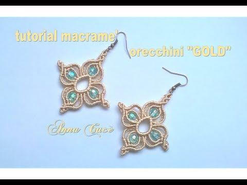 macramè - orecchini quadrifoglio con perle