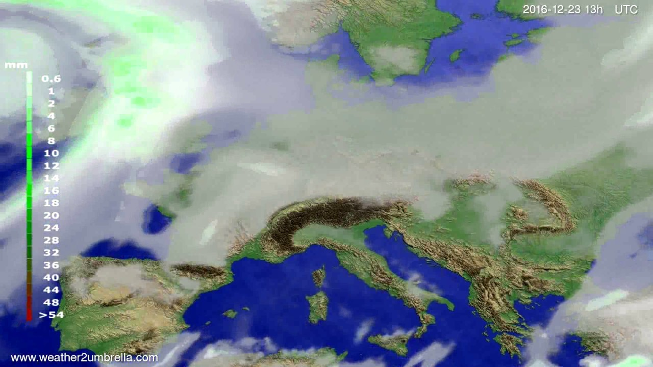 Precipitation forecast Europe 2016-12-20