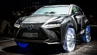 Check out this Lexus literally driving on ice tires