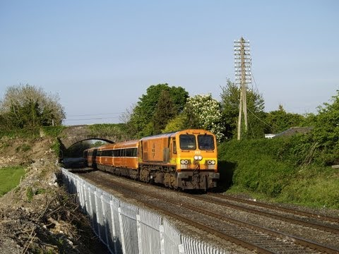 Dublin Cork Line - Irish Rail's 201 class No.203 & MK3 coaches work the 1825 Heuston-Waterford at MP9 on the Dublin-Cork line on 30-April-2007. 203 is wearing its original live...