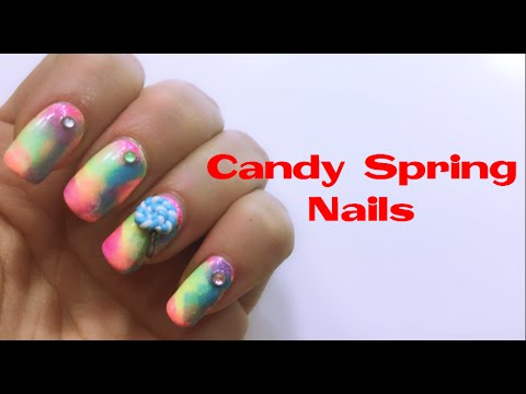 nail art - candy spring 3d!