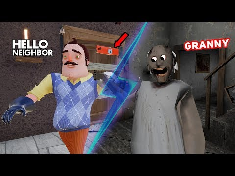 Granny's House TURNS INTO THE NEIGHBOR'S HOUSE!! | Hello Neighbor + Granny Horror Mobile Game (Mods) (видео)
