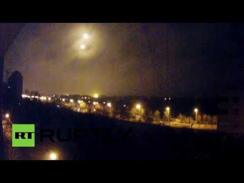 Unidentified - Three unidentified lights were seen hovering in the skies above Donetsk Airport on Friday, coinciding on the same day shooting could be heard in the area. COURTESY: RT's RUPTLY video agency,...