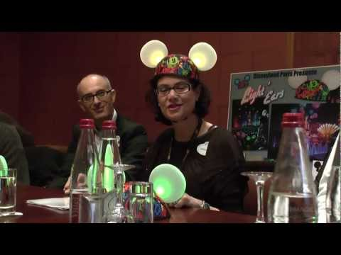 dlrpmagicvideo - EXCLUSIVE — Marianne Sharpe and David Sultan of the Disneyland Paris merchandising team preview the new Disney Light'Ears at an informal panel discussion jus...