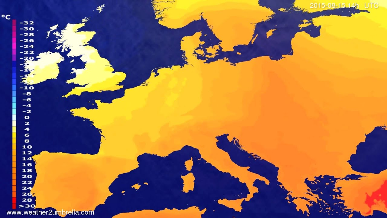 Temperature forecast Europe 2015-08-11