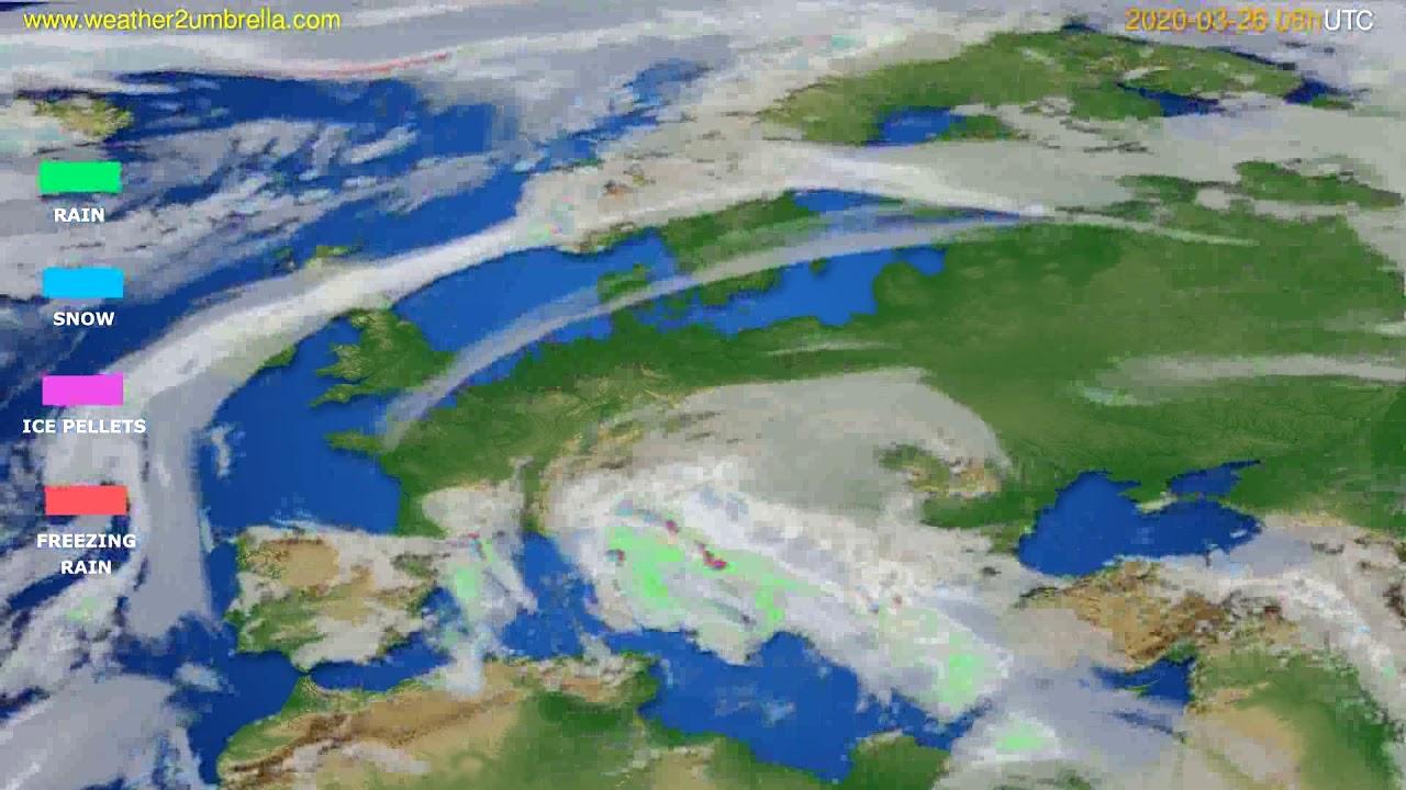 Precipitation forecast Europe // modelrun: 12h UTC 2020-03-25