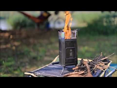 Wood camping stove fan driven