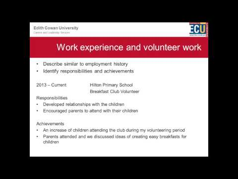 Career Planning for new grads at ECU – How to Create Your Job Ready Résumé
