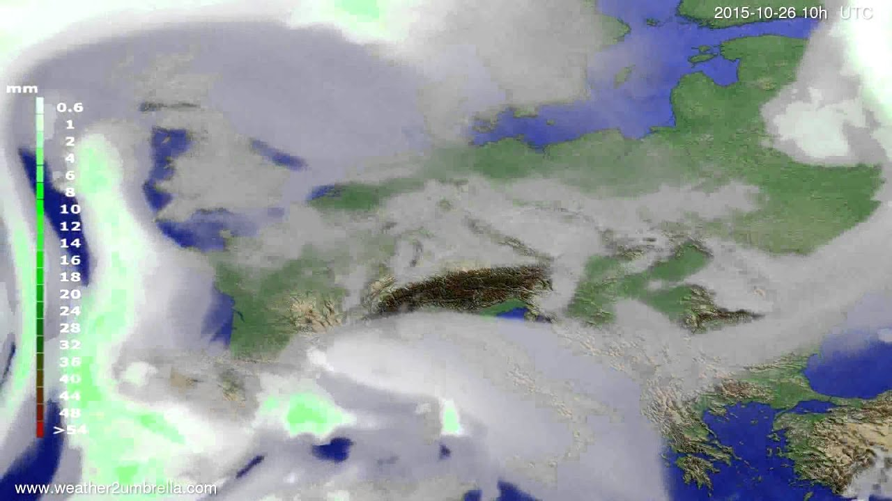 Precipitation forecast Europe 2015-10-24