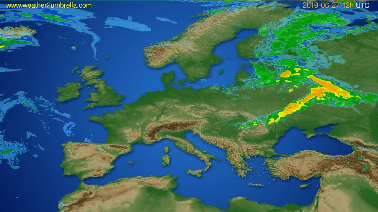 Radar forecast Europe // modelrun: 00h UTC 2019-06-27