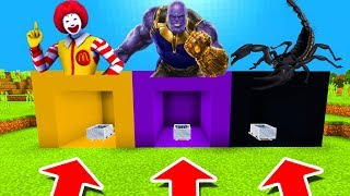 Minecraft PE : DO NOT CHOOSE THE WRONG MINECART! (Ronald Mcdonald, Thanos & Scorpion)