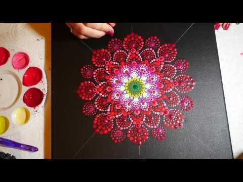 How to paint dot mandalas #15- Red Dahlia
