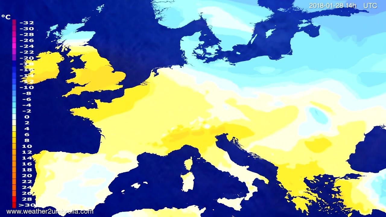 Temperature forecast Europe 2018-01-24