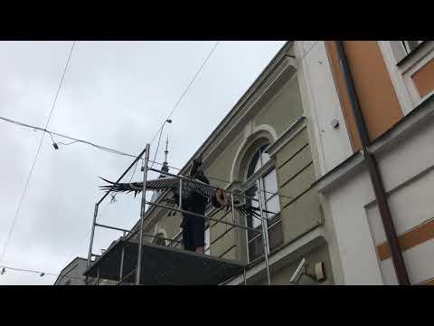 Wideo1: Montaż żurawi nad leszczyńskim Deptakiem