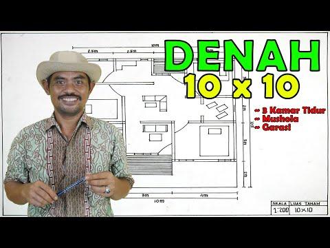 DENAH RUMAH SEDERHANA 10x10 | DESAIN RUMAH MINIMALIS