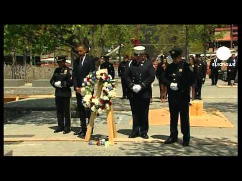 US President Barack Obama in silent tribute at Ground Zero
