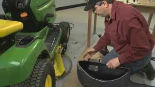 Tech Support fitting DR Leaf and Lawn Vac boot adapter to lawn mower deck