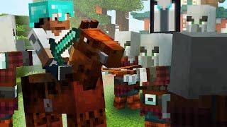 Crazy Illager Raid Horse Battle! :: Minecraft 1.14 Building with BdoubleO