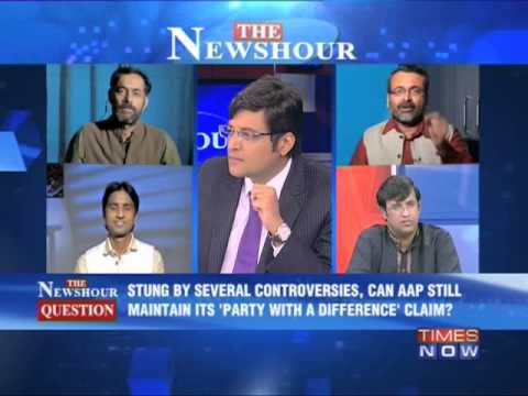 Aap - In a debate moderated by TIMES NOW's Editor-in-Chief Arnab Goswami, panelists -- Anuranjan Jha, CEO Media Sarkar; Surajit Das Gupta, Former Member, National ...