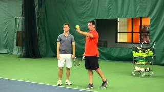 """Tennis Serve Lesson - http://powerkillers1.fuzzyyellowballs.com/Tennis serve power comes from something called the """"Kinetic Chain.""""  In this video, Dr. Kovacs shares a simple progression for syncing your Kinetic Chain, and developing more tennis serve power."""