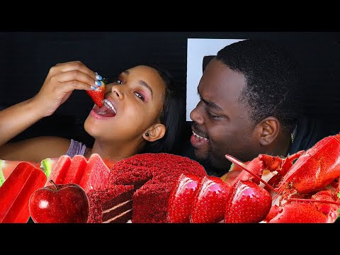 ASMR EATING ONLY RED FOOD | ASMR EATING NO TALKING MUKBANG | BEAUTY AND THE BEAST ASMR