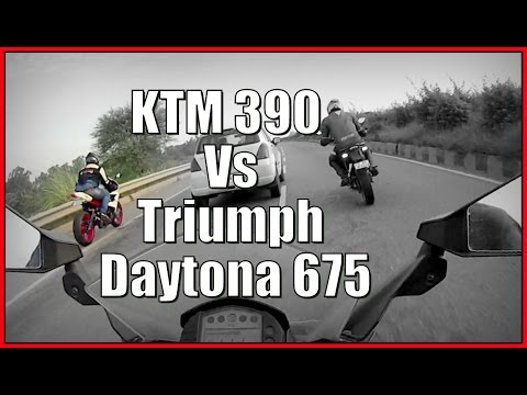 KTM RC 390 and Duke 390 vs Triumph Daytona 675R