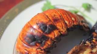 Queues de langoustes grillées au barbecue