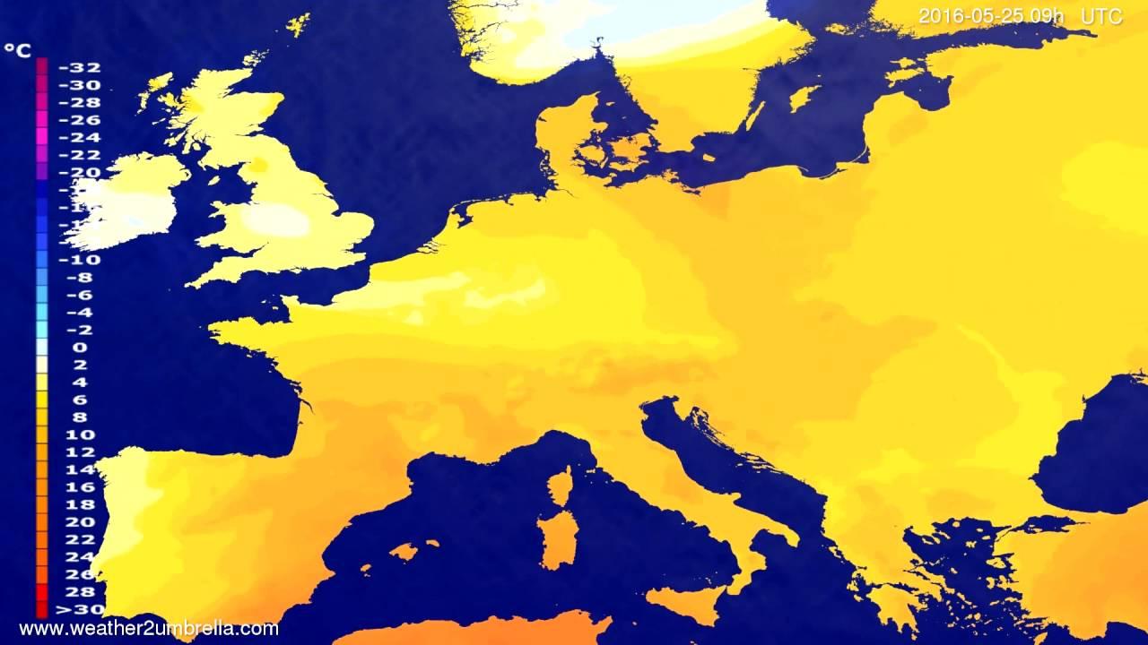 Temperature forecast Europe 2016-05-23