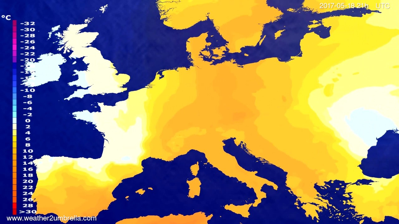 Temperature forecast Europe 2017-05-15