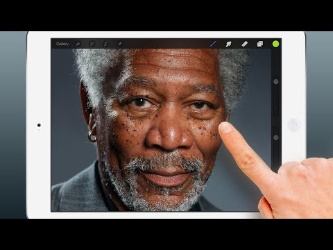 Guy draws a pic of Morgan Freeman on his iPad.  It looks like a real pic!