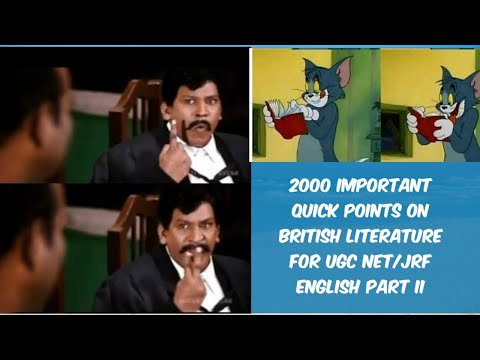 2000  IMPORTANT QUICK/ EASY POINTS ON ENGLISH LITERATURE FOR UGC NET SET JRF PAPER II | Notes| GR|