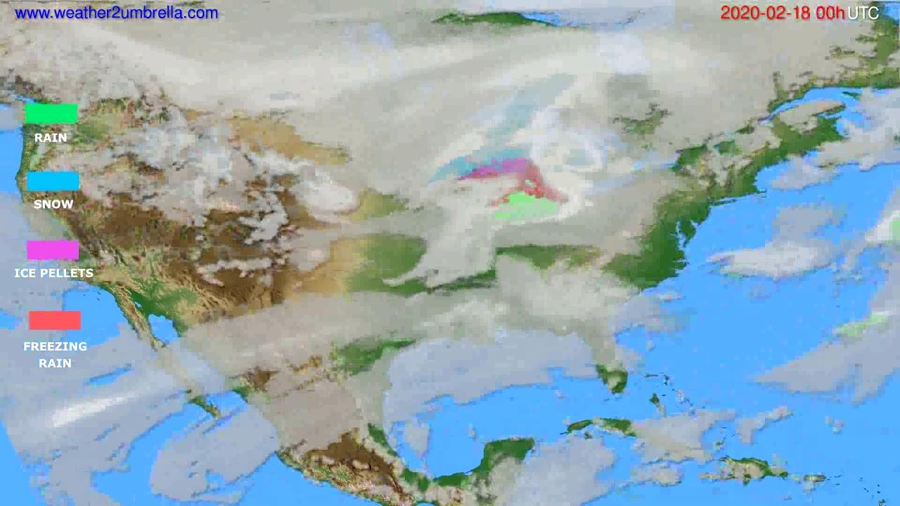Precipitation forecast USA & Canada // modelrun: 00h UTC 2020-02-17