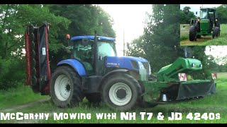 McCarthy Mowing with a New Holland T7  with John Deere front mower and a KEltEc  mower on rear & John Deere 4240s with a John Deere 1365 Mower in Kilmeaney Co Kerry Ireland. Please Subscribe and like and also Follow on Twitter @agri_jmLike on Facebook JM Agri Videos.