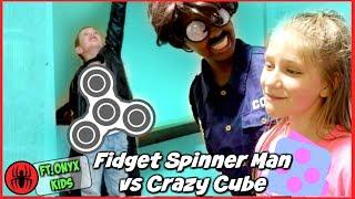 Fidget Spinner Man vs Crazy Cube Freak Out! Ft. Shiloh and Shasha Onyx Kids - SuperHeroKids