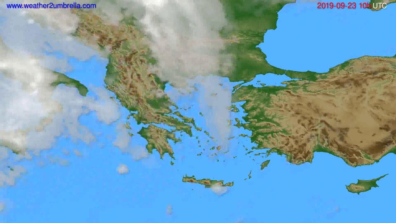 Cloud forecast Greece // modelrun: 12h UTC 2019-09-20