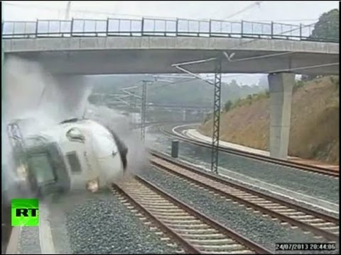 Dramatic CCTV: Moment of Santiago high-speed train crash caught on tape